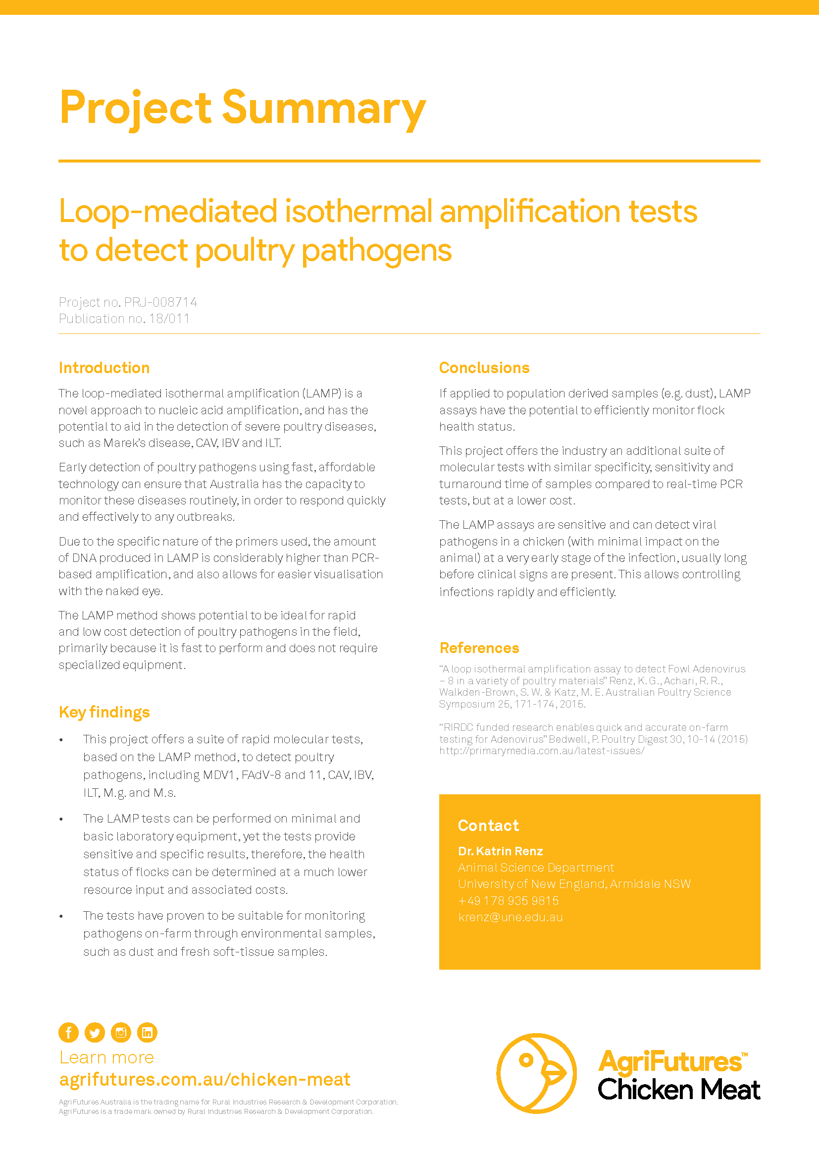 Project summary: Loop-mediated isothermal amplification tests to detect poultry pathogens - image