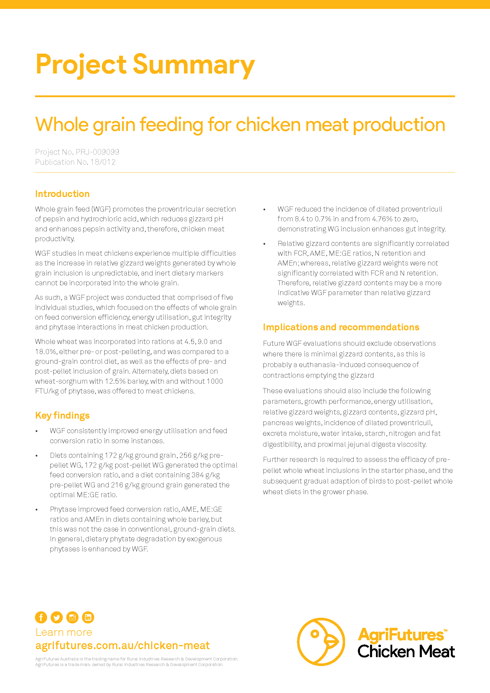 Project summary: Whole grain feeding for chicken meat production - image