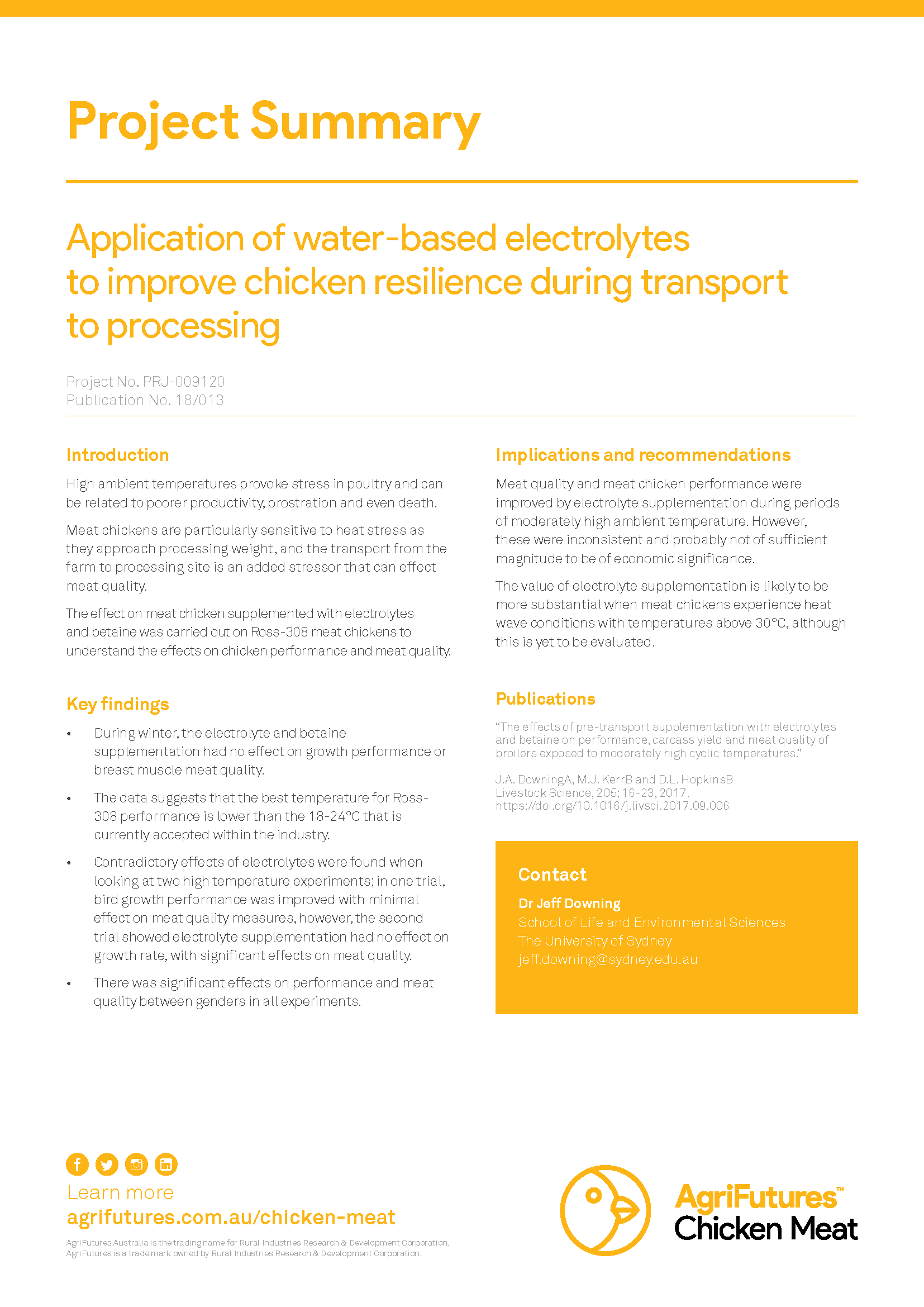 Project summary: Application of water-based electrolytes to improve chicken resilience during transport to processing - image