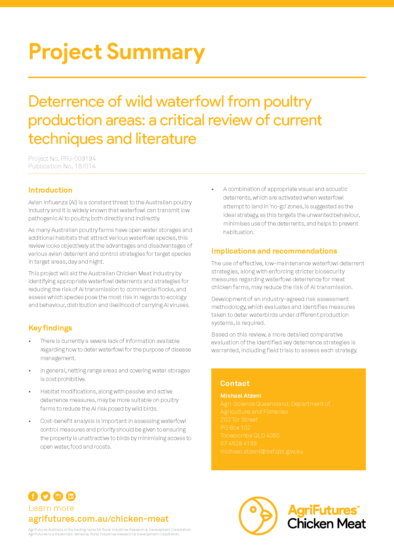 Project summary: Deterrence of wild waterfowl from poultry production areas: a critical review of current techniques and literature - image