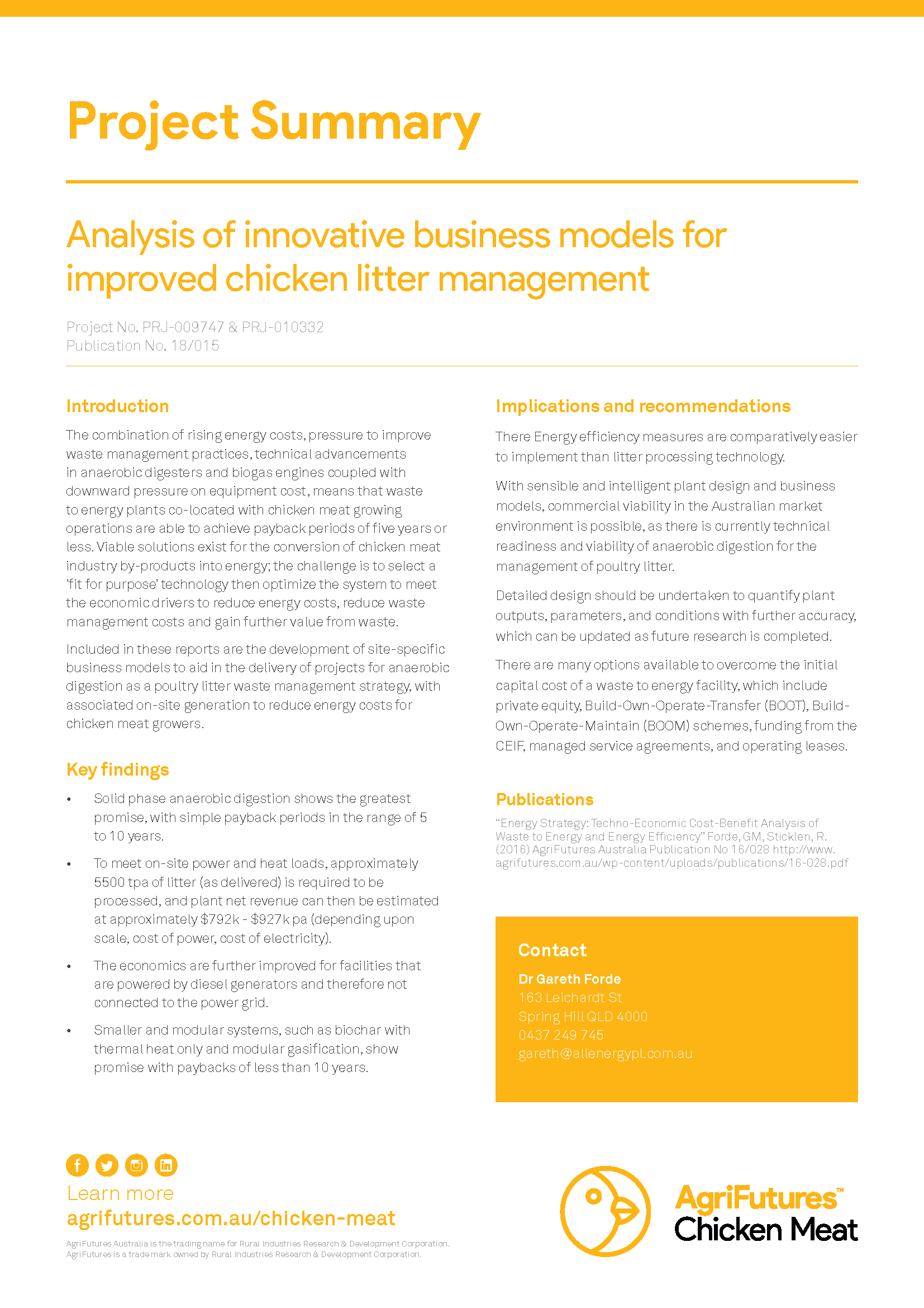 Project summary: Analysis of innovative business models for  improved chicken litter management - image