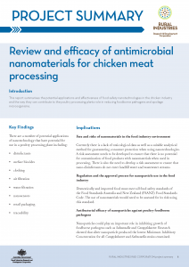 Review and efficacy of antimicrobial nanomaterials for chicken meat processing - image