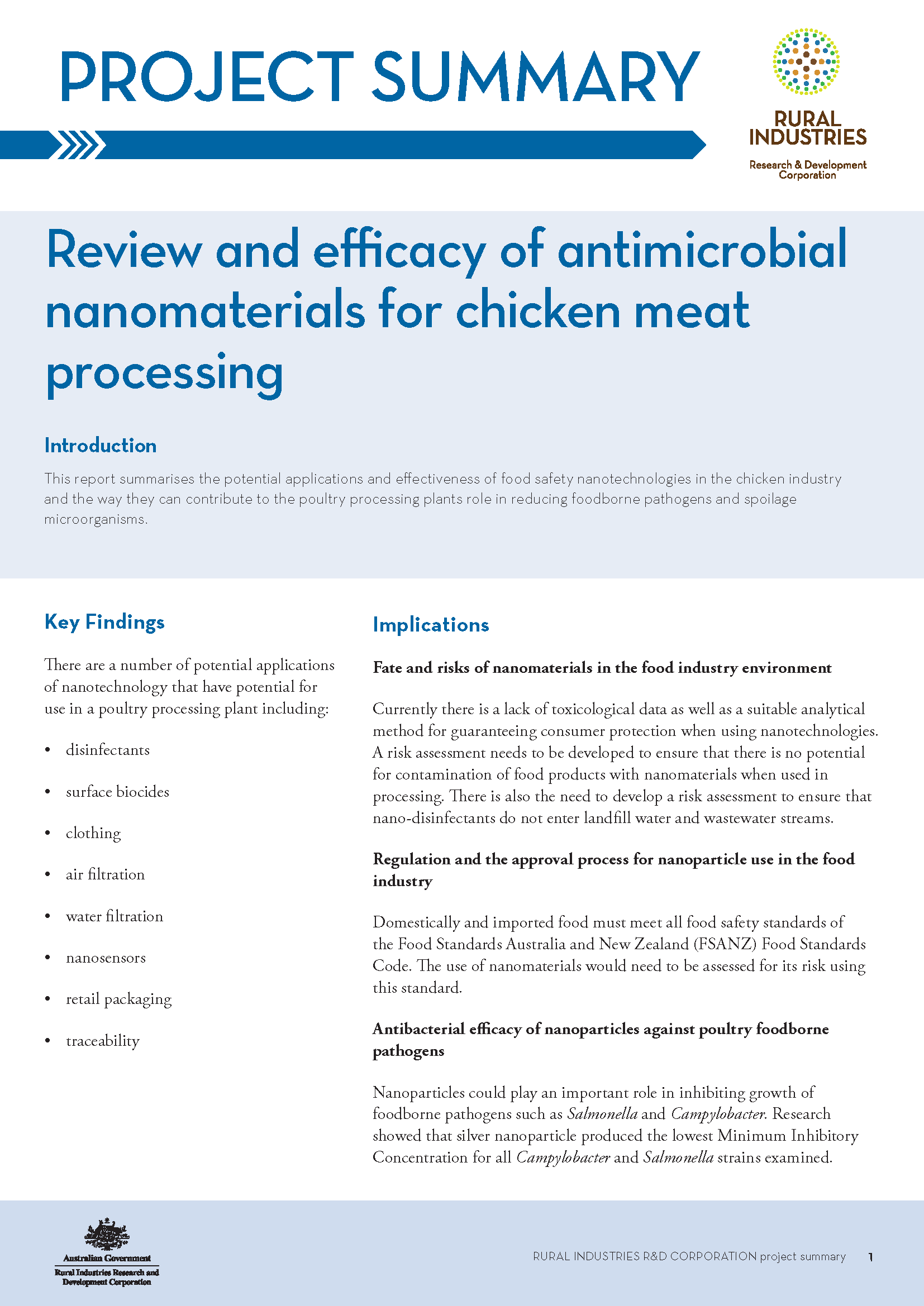 Project summary: Review and efficacy of antimicrobial nanomaterials for chicken meat processing - image