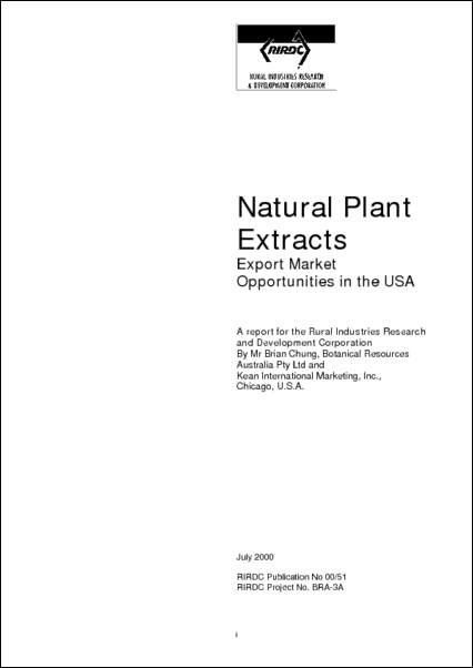 Natural Plant Extracts – export Marketing Opportunities in