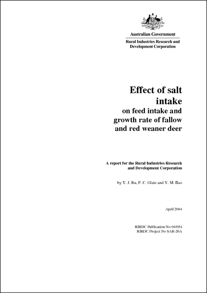 Effect of Salt Intake on Feed Intake and Growth of Fallow and Red Weaner Deer - image