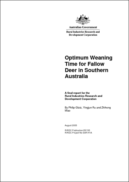 Optimum Weaning Time for Fallow Deer in Southern Australia - image