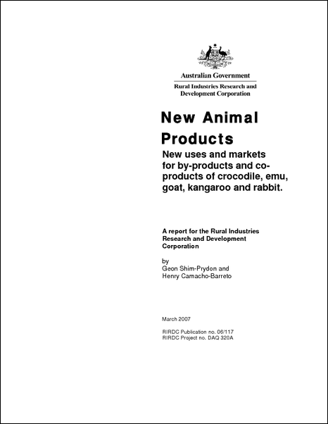 New Animal Products: New uses and markets for co/by-products of crocodile, emu, goat, kangaroo and rabbit. - image