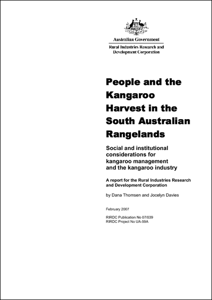 People and the Kangaroo Harvest in the South Australian Rangelands - image