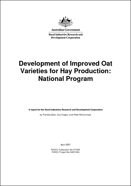 Development of Improved Oat Varieties for Hay Production : National Program - image