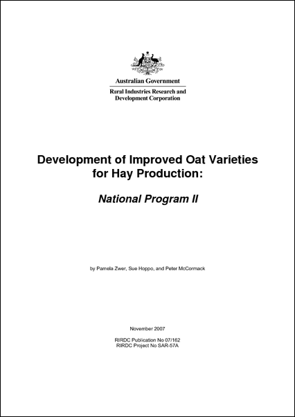 Development of Improved Oat Varieties for Hay Production: National Program 2 - image