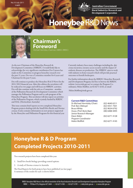 Honeybee R&D News Number 10 - image