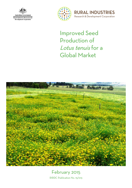 Improved seed production of Lotus tenuis for a global market - image