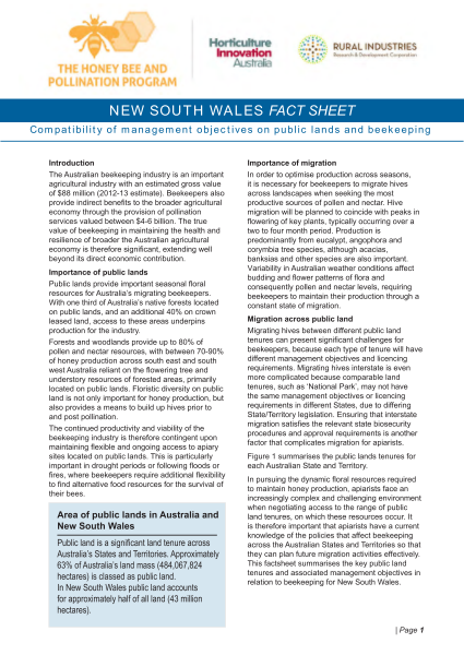 NSW Fact Sheet: Compatibility of management objectives on public lands and beekeeping - image