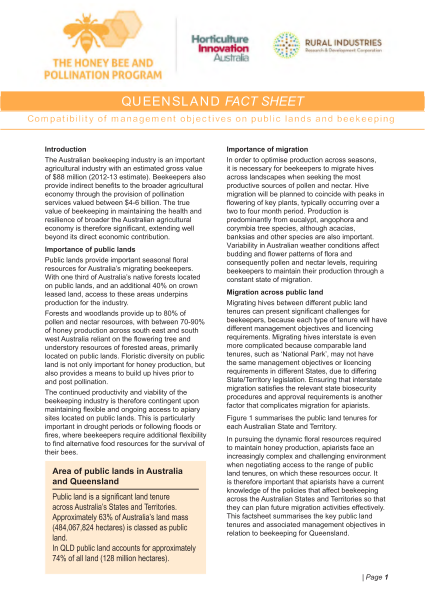 QLD Fact Sheet: Compatibility of management objectives on public lands and beekeeping - image