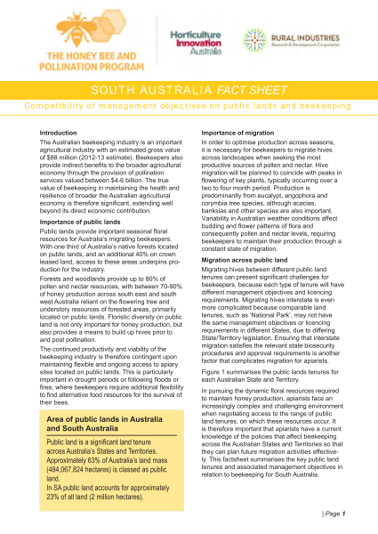 SA Fact Sheet: Compatibility of management objectives on public lands and beekeeping - image