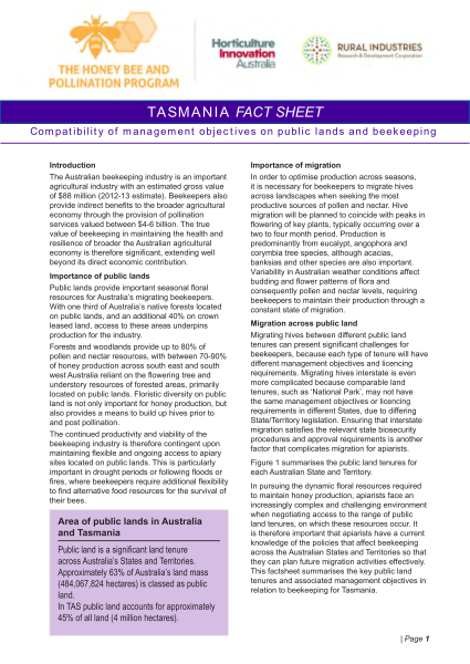 TAS Fact Sheet: Compatibility of management objectives on public lands and beekeeping - image