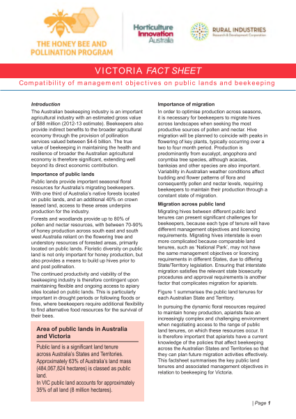 VIC Fact Sheet: Compatibility of management objectives on public lands and beekeeping - image
