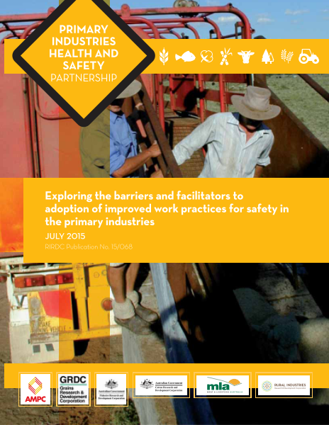 Exploring the barriers and facilitators to adoption of improved work practices for safety in the primary industries - image