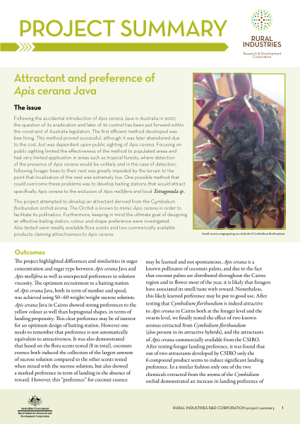 Attractant and preference of Apis cerana Java - image