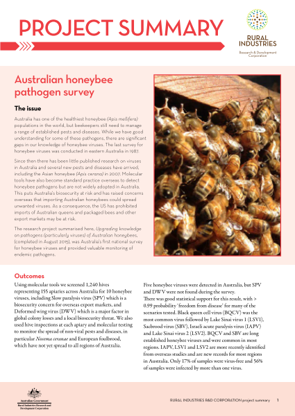 Australian honeybee pathogen survey | AgriFutures Australia