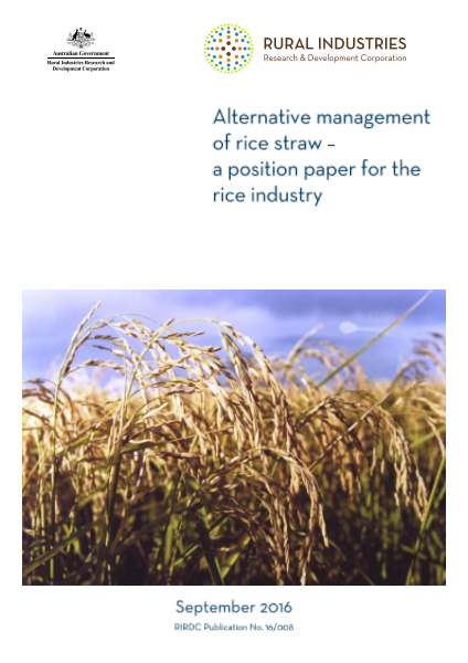 Alternative management of rice straw - a position paper for the rice industry - image