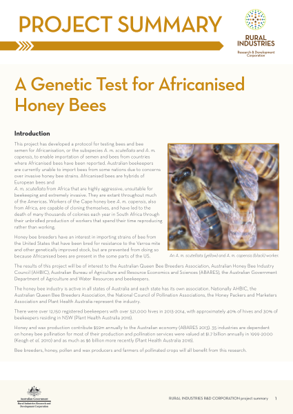 A Genetic Test for Africanised Honey Bees - image