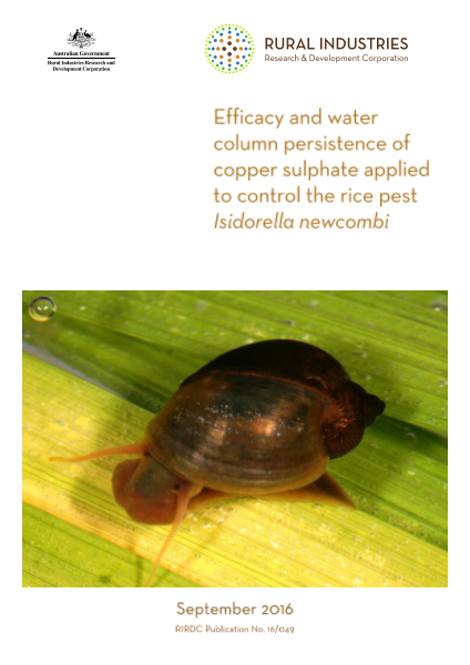 Efficacy and water column persistence of copper sulphate applied to control the rice pest Isidorella newcombi - image