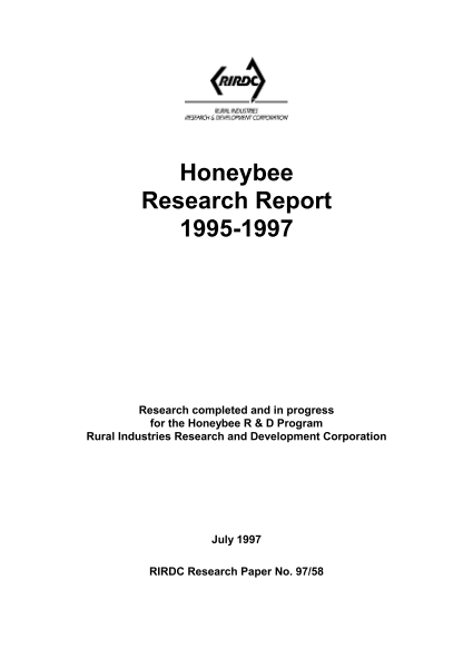 Honeybee Research Report 1995-1997 - image