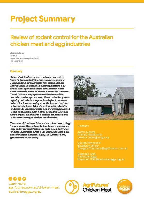 Project summary: Review of rodent control for the Australian chicken meat and egg industries - image