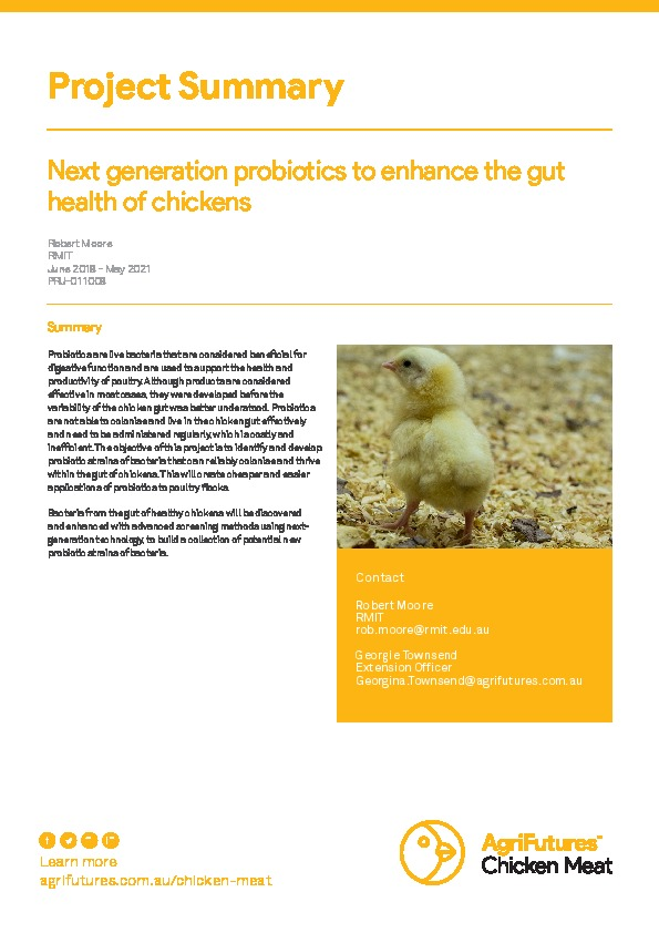 Project summary: Next generation probiotics to enhance the gut health of chickens - image