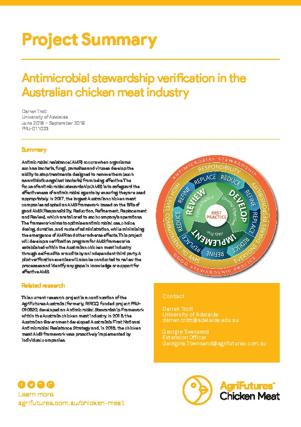 Project summary: Antimicrobial stewardship verification in the Australian chicken meat industry - image
