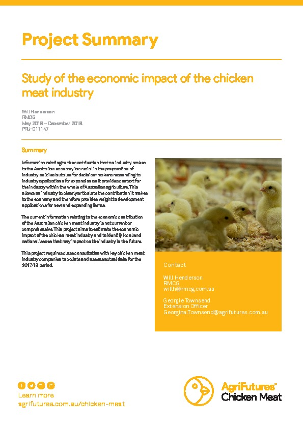 Project summary: Study of the economic impact of the chicken meat industry - image