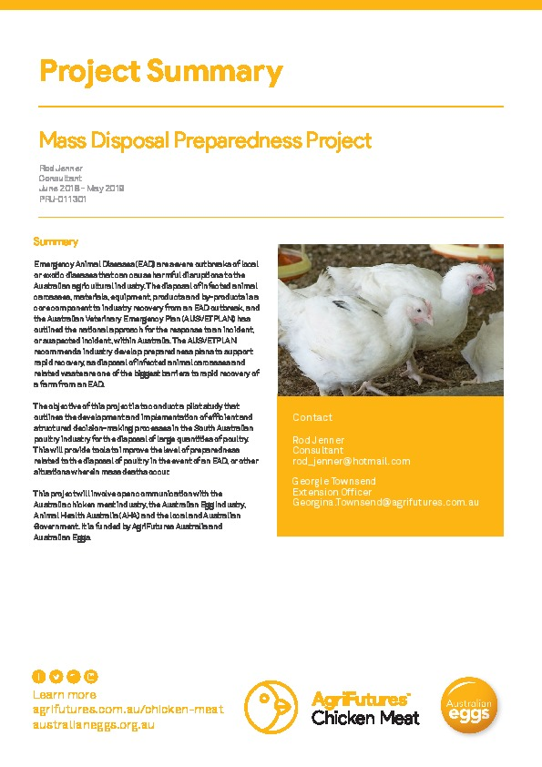 Project summary: Mass Disposal Preparedness Project - image
