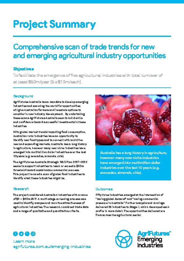 Project summary: Comprehensive scan of trade trends for new and emerging agricultural industry opportunities - image