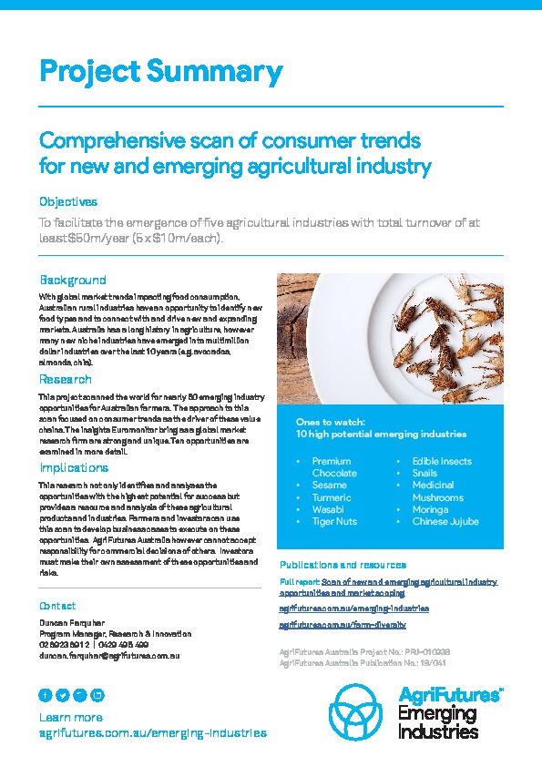 Project summary: Comprehensive scan of consumer trends for new and emerging agricultural industry - image