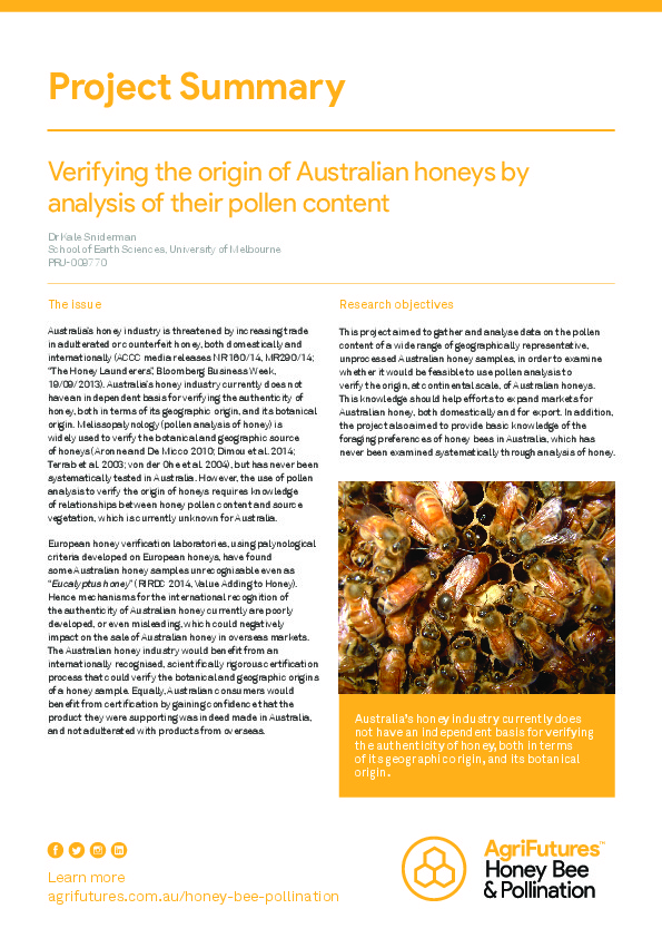 Project Summary: Verifying the origin of Australian honeys by analysis of their pollen content - image