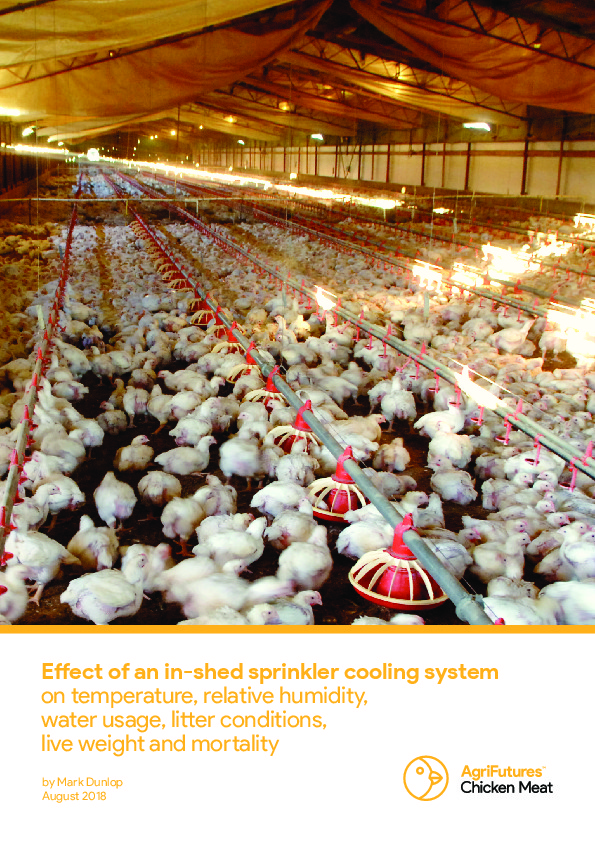 Effect of an in-shed sprinkler cooling system on temperature, relative humidity, water usage, litter conditions, live weight and mortality - image