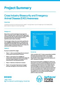 Project Summary: Cross Industry Biosecurity and Emergency Animal Disease (EAD) Awareness - image