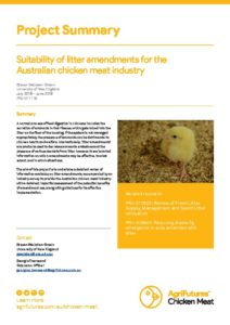 Project Summary: Suitability of litter amendments for the Australian chicken meat industry - image