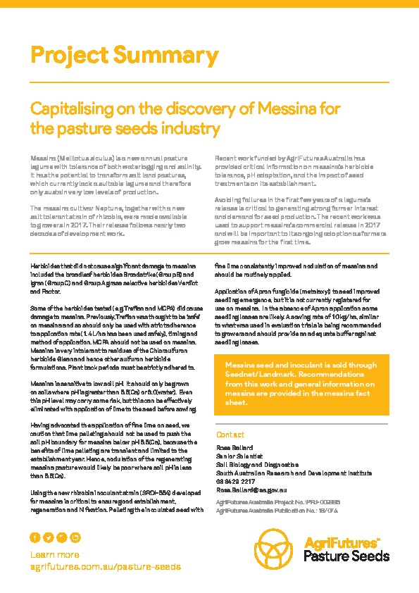 Project summary: Capitalising on the discovery of Messina for the pasture seeds industry - image