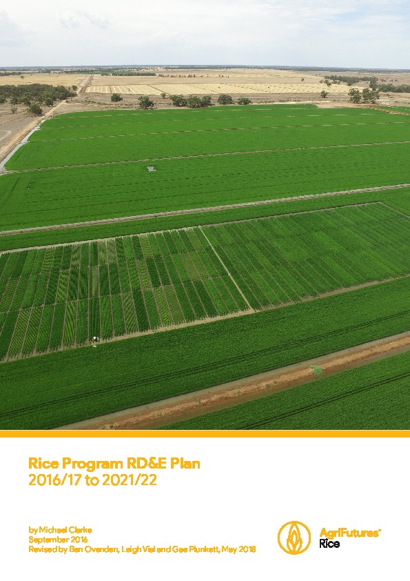 Rice Program Five Year RD&E Plan 2016/17 to 2021/22 - image