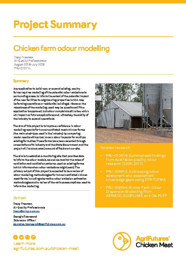Project summary: Chicken farm odour modelling - image
