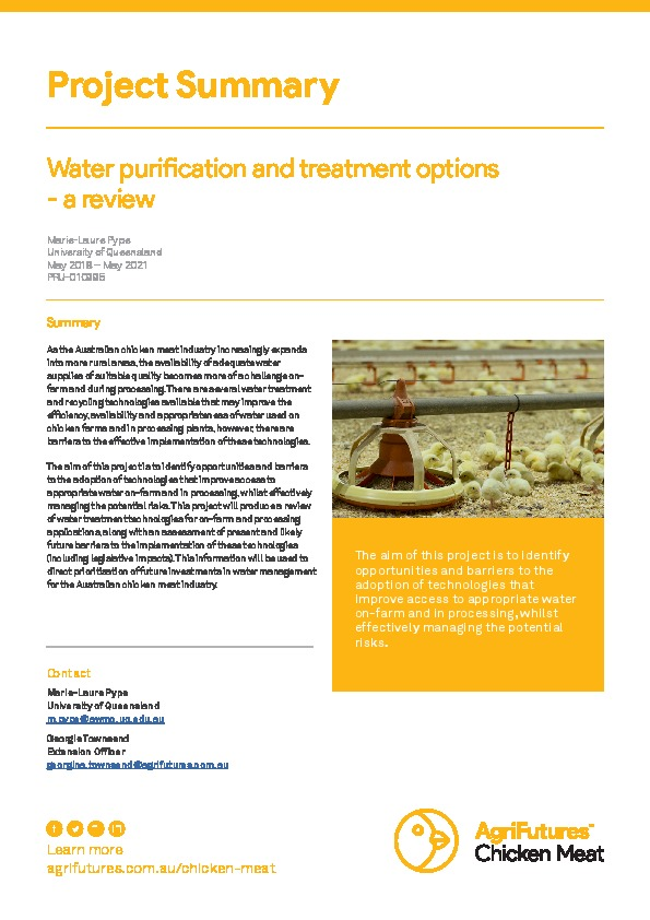 Project Summary: Water purification and treatment options - a review - image