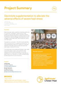 Project Summary: Electrolyte supplementation to alleviate the adverse effects of severe heat stress - image