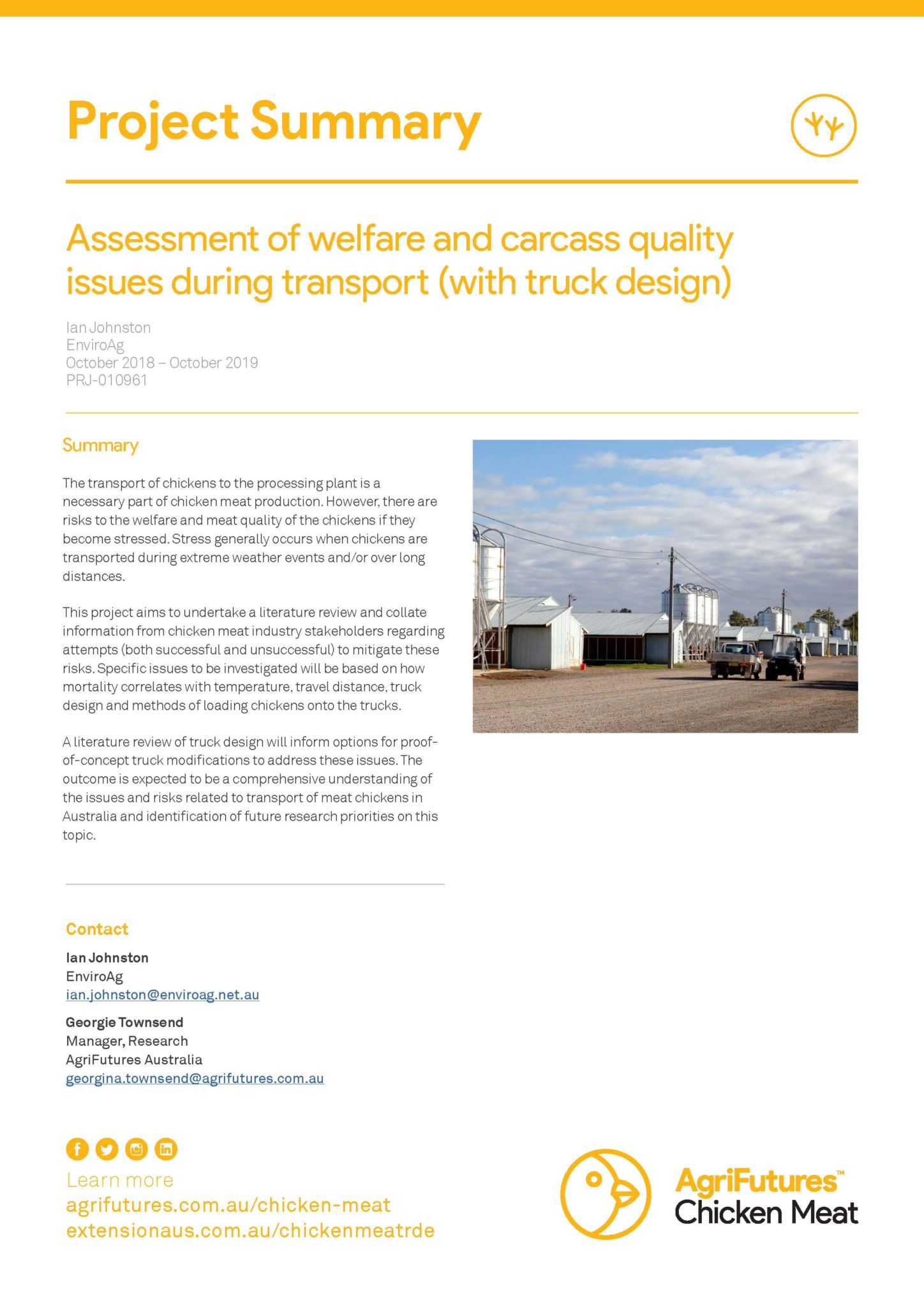 Project Summary: Assessment of welfare and carcass quality issues during transport (with truck design) - image