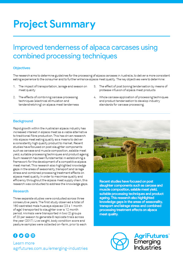 Project Summary: Improved tenderness of alpaca carcases using combined processing techniques - image