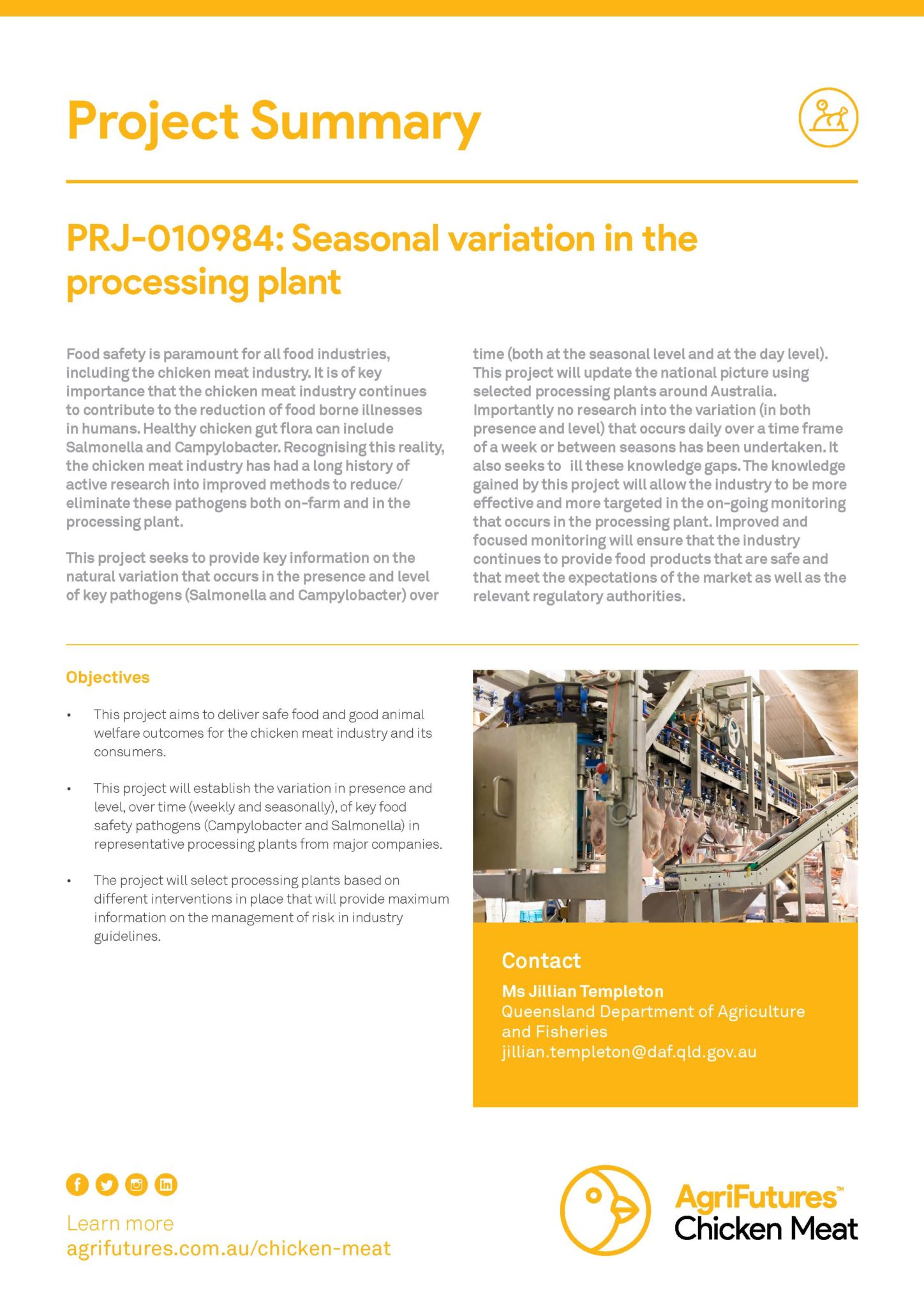 Project Summary: Seasonal variation in the processing plant - image