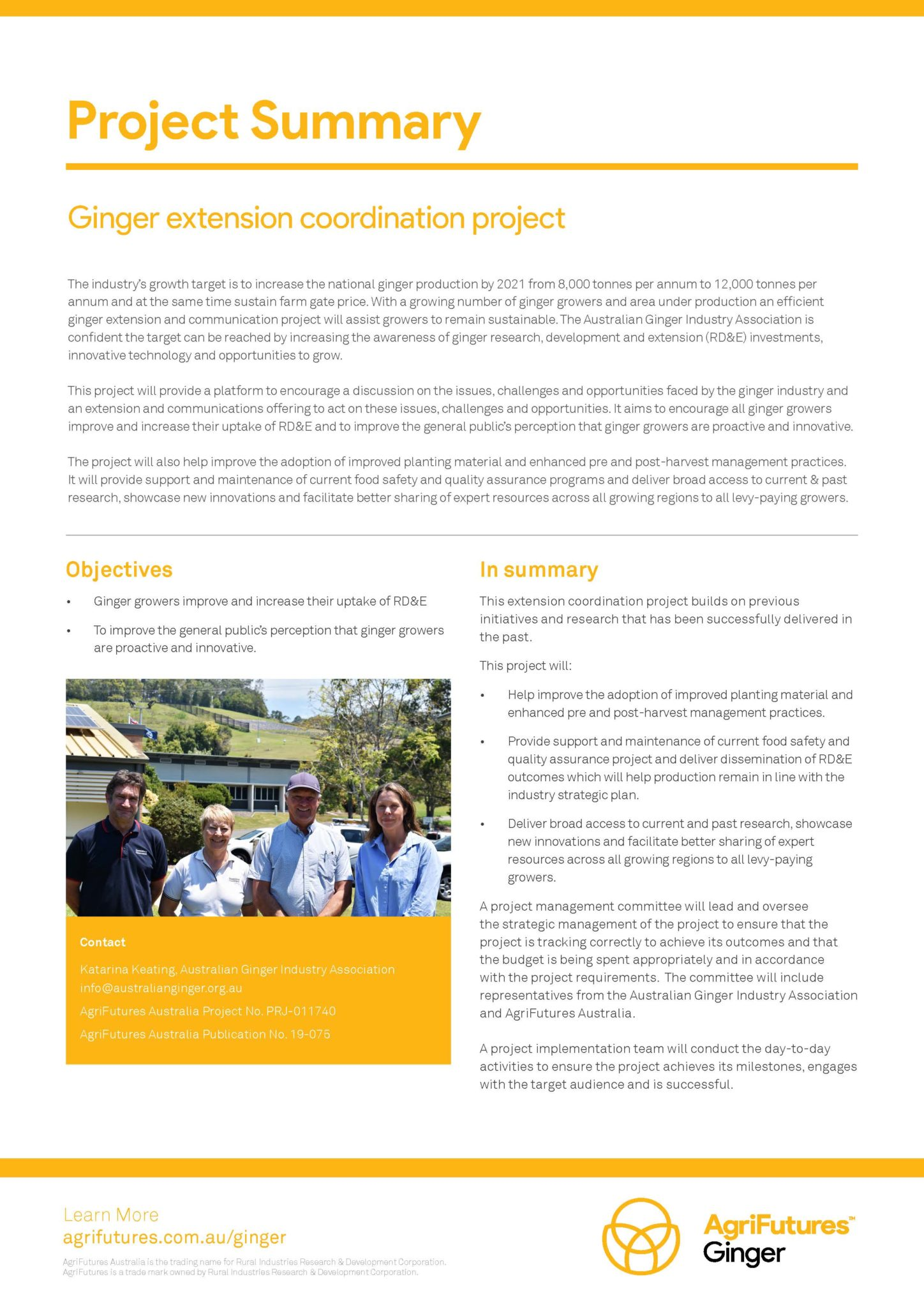 Project summary: Ginger extension coordination project - image