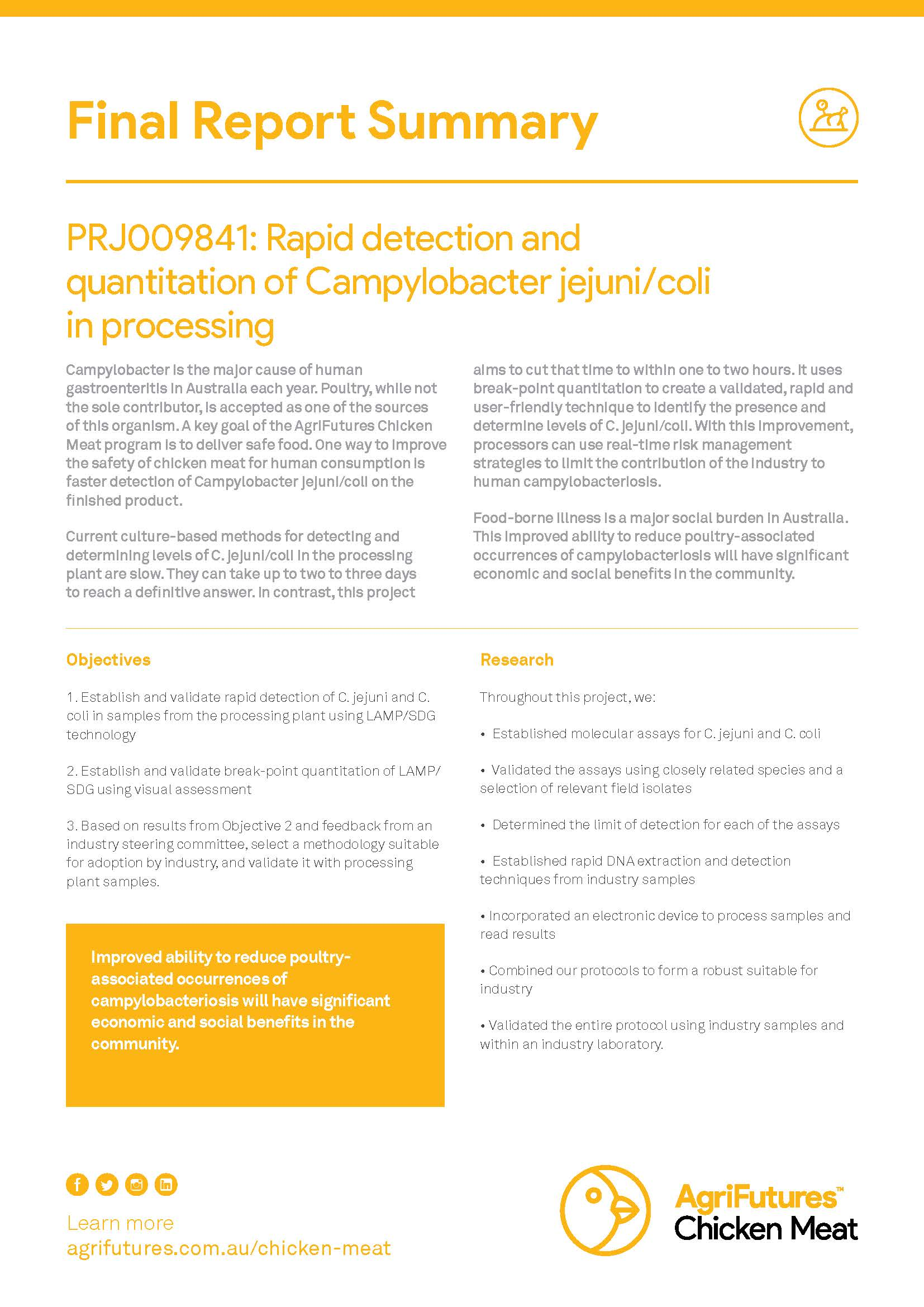 Final report summary: Rapid detection and quantitation of Campylobacter jejuni/coli in processing - image