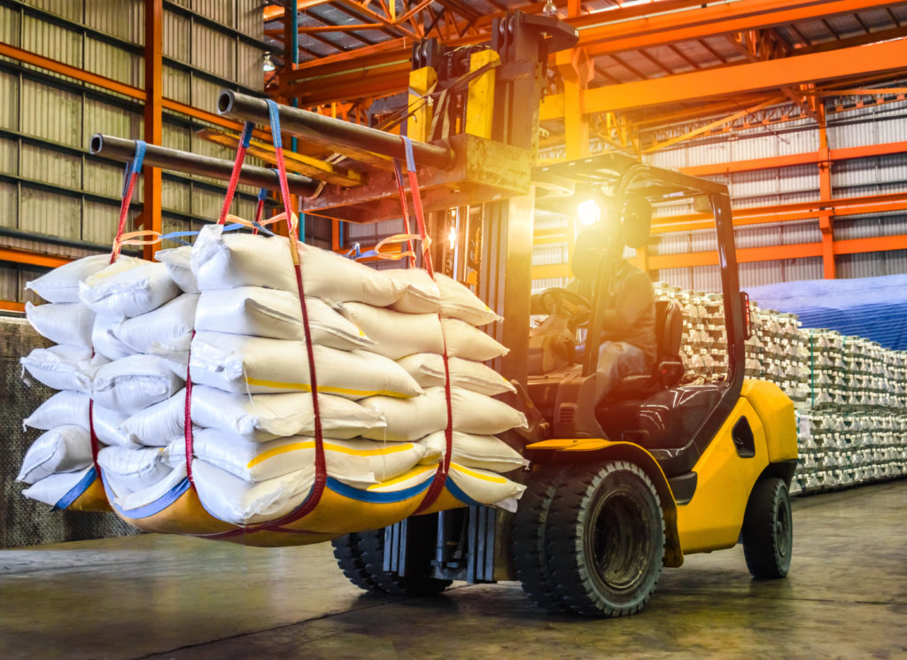 Forklift transporting agricultural products